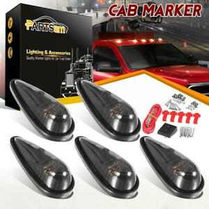 5x 9 Led Teardrop Smoke Amber Cab Roof Running Clearance Light Kit W Switch Wire