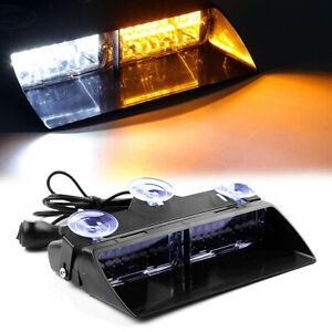 Amber white 16led Auto Windshield Strobe Light Emergency Flash Warning Lamps 12v