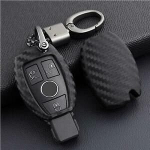 For Mercedes Benz Carbon Fiber Smart Car Key Case Cover Fob Holder Accessories