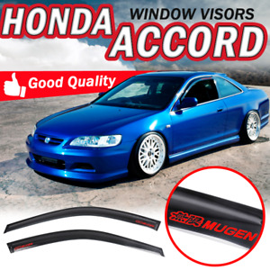 For 98 02 Honda Accord Coupe Tape on Window Visors Slim Smoke Guards Acrylic