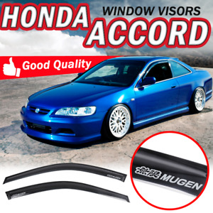 For 98 02 Honda Accord Coupe Window Visor Smoke Sun Vent Guard Shade Slim Style