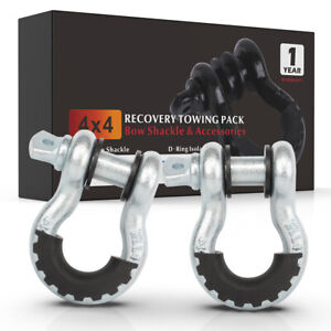 Silver 2pcs D Ring Shackle W Isolator Silencer Black Clevis Tow Strap Winch Set