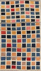 Modern Gabbe Oriental Area Rug Wool Hand Knotted Geometric Checked Carpet 3 X 5