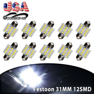 10x 31mm 12smd Festoon Led Cool White Dome Map License Interior Light Bulbs 3175