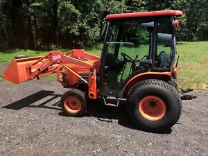 2009 Kubota B3030 Compact Tractor Loader Enclosed Cab Diesel 4x4 With Attachment