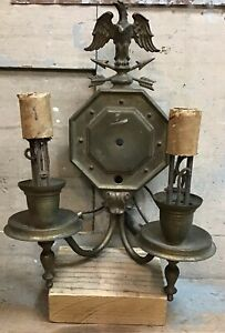 Antique Brass Wall Sconce Light Fixture W Eagle For Parts Repair
