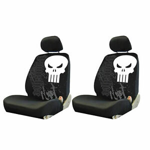 New Marvel Punisher Skull Front Low Back Seat Covers Universal Fit 4 Pc