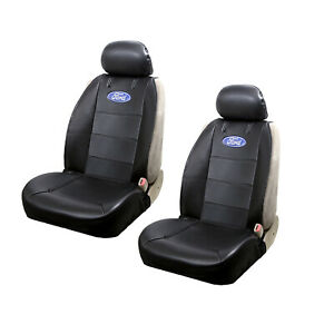 New Black Ford Vinyl Side less Seat Cover W Blue Oval Logo Universal Fit Pair
