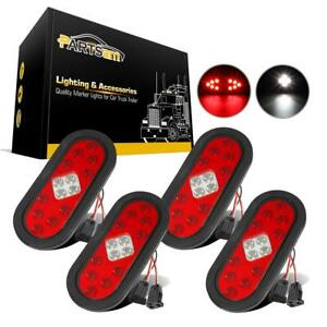 4xtruck Trailer 6 Oval 14led Stop Tail Turn Backup Lights Includes Grommet Plug