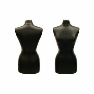 Black Leather Covered Female Dress Form Body Form Size 6 8 Square Metal Base