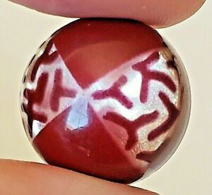 Vintage Button Celluloid Glow Bubble Maroon Over Silver Foil