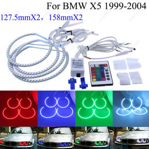 4pcs 127 5mmx2 158mmx2 Led Angel Eyes Halo Rings Rgb Remote For Bmw E53 X5 99 04
