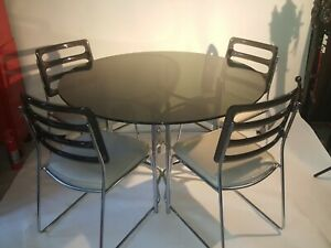 Vintage Chromcraft Mid Century Smoked Glass Lucite Dining Table Set