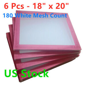 Us 6 Pcs 18 X 20 Aluminum Screen Printing Screens With 180 White Mesh Count