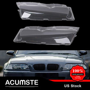 Pair Front Left Right Headlight Lens Cover For 2002 2005 Bmw E46 3 Series 4dr