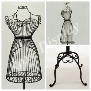 Women s Black Wire Metal Dress Form Mannequin With Adjustable Stand