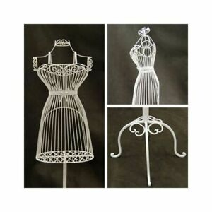 Women s Wire Metal Dress Form Mannequin With Adjustable Stand White