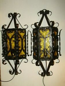 Spanish Revival Wrought Iron Amber Glass Outdoor Wall Light Fixture 1641 1 2