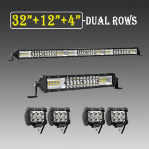 32inch Led Light Bar Combo 12 Inch 4 18w Pods Offroad Suv 4wd Utv Vs 30 22 20
