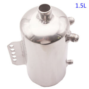 Universal Polished Aluminum Alloy 1 5l Fuel Surge Tank Mirror Oil Catch Can