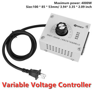 4000w 220v Variable Voltage Controller For Fan Speed Motor Control Dimmer New