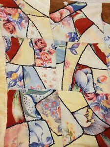 Vintage Antique Child Baby Crazy Quilt Cutter Project Pinks Roses Satins Rayon