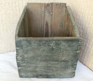 13 Antique Primitive Rustic Kitchen Wooden Hanging Wall Box Old Blue Paint