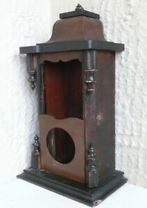 17 X 9 Vtg Antique Hand Made Huge Wooden Hanging Wall Box Old Brown Paint