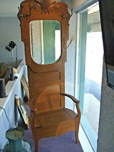 Antique Oak Hall Tree Entryway Coat Stand W Beveled Mirror Storage Ca 1890 S