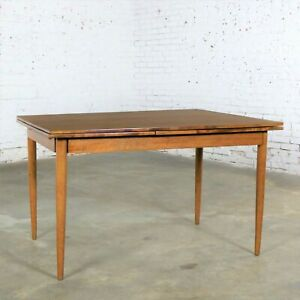 Mid Century Modern Draw Leaf Extending Dining Table After Conant Ball