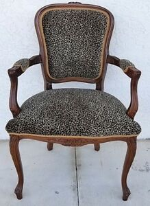 Najarian French Provincial Louis Xv Animal Leopard Print Carved Bergere Armchair
