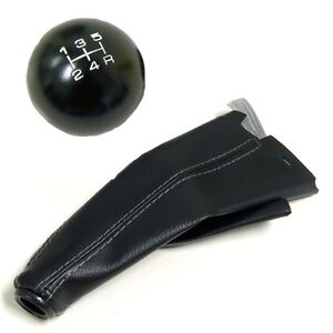 Black Round Billet Racing Shift Knob And Boot Combo For Honda Acura 5 Speed Mt