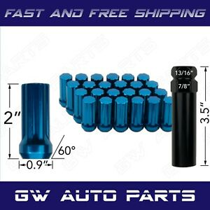 24 Spline Lug Nuts With Key M14x1 5 Blue 2 Tall Chevy Silverado Gmc Jeep Ram