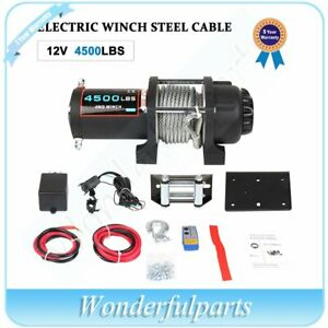 4500lb Electric Winch Towing Truck Steel Wire Rope Off Road Atv Utv 12v 4000lbs