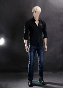 Realistic Full Body Male Mannequin With Molded Hair And Facial Features wen6