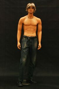 Realistic Tan Adult Male Standing Fully Body Fiberglass Mannequin With Wig