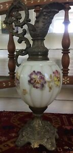 Antique Victorian Ewer With Violets Hand Painted