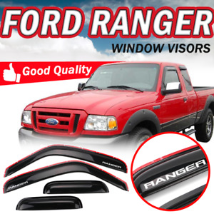 Fit 99 11 Ford Ranger Window Visor Smoked Rain Sun Shade Deflectors In Channel
