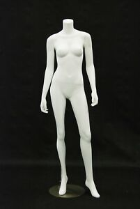 Adult Headless Matte White Female Fiberglass Mannequin With Metal Stand