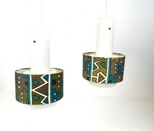 Rare Original Mid Century Set Of 2 Vintage Pendant Ceiling Lamps 1960