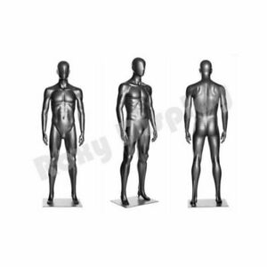 Men s Metallic Silver Abstract Male Full Body Mannequin With Base