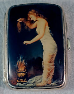 Sterling Silver Cigarette Case With Enamel Nude On Lid Drying Hair P