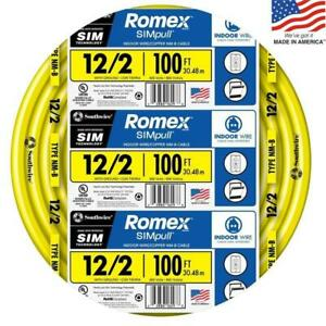Southwire Romex Simpull 100 ft 12 2 Non metallic Wire by the roll 28828228 New