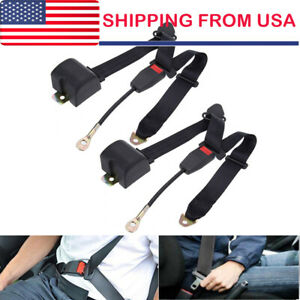 2 Car Seat Belt Lap 3 Point Safety Travel Adjustable Retractable Auto Universal