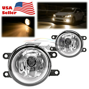 Pair Fog Light Clear Lens Replacement Oem Grade For 2009 2013 Toyota Venza T4