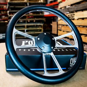 14 Polished Half Wrap Steering Wheel Black For Chevy Muscle C10 Ford Hot Rod