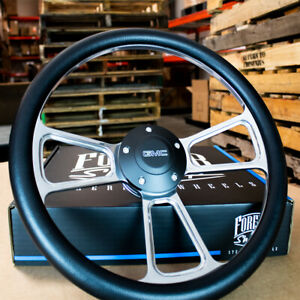 14 Billet Muscle Steering Wheel With Black Vinyl Wrap And Gmc Horn 5 Hole