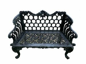 Rococo Revival Painted Cast Iron Rose Garden Bench By Kramer Bros