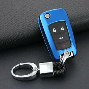 Flip Key Fob Chain For Chevrolet Buick Keychain Accessories Case Cover Ring Blue
