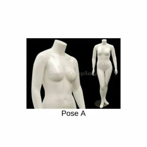 Plus Size Headless Female Mannequin Glossy White Finish Post A